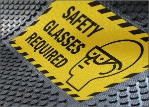 Footfall - Rubber Safety Glasses Required Mat